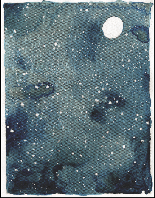 Painting in watercolor on white paper a dark sky sull of a white full moon and white and light blue stars