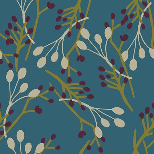 Burgundy and Olive berries and cream pod branches tossed overtop a teal background