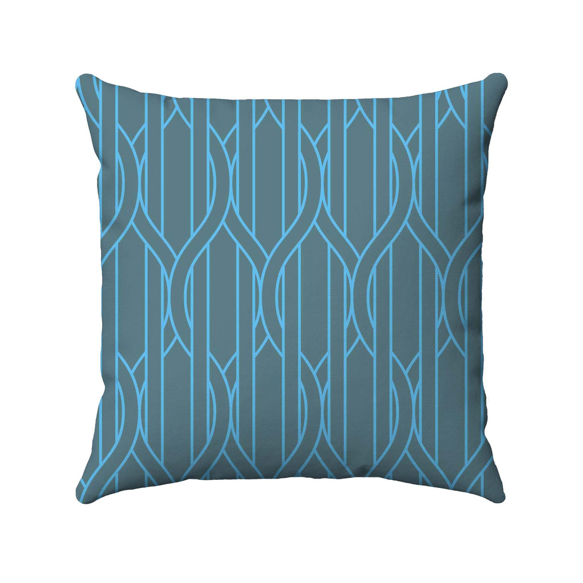 Two different shades of blue straight and ogee lines are used in this 2-color design to portray vertical stripes with wire-like lines wrapping in and around the stripes.