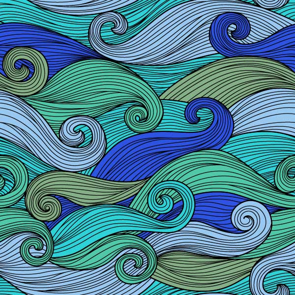 Thin black lines that create larger swirls in shades of purple, pink, and blue.
