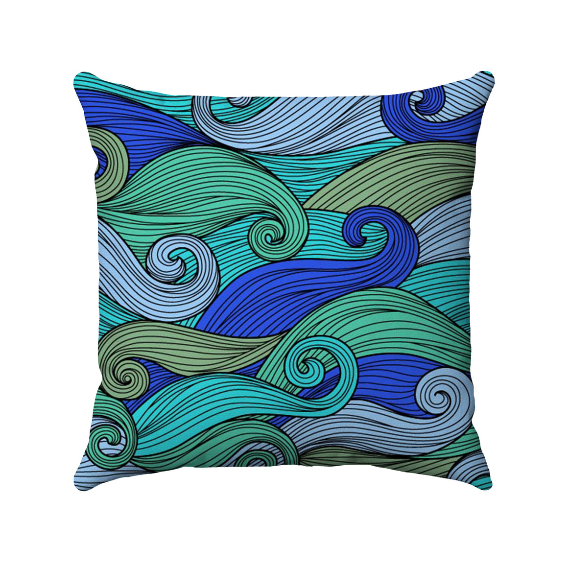 Cobalt blue and sea green palette colors on intermingling curly waves
