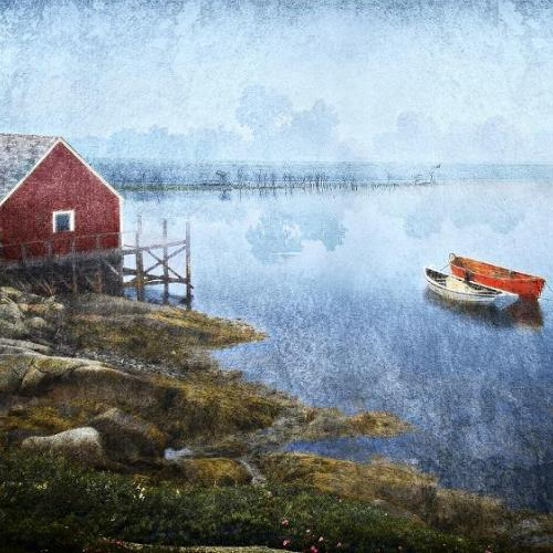 Square thumbnail of photograph of a row boat and a canoe just off the beach of a farm home with a foggy air
