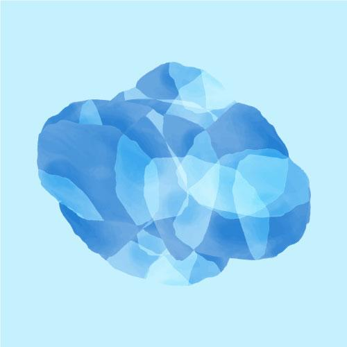 Cluster of blue overlapping shapes that form a water effect on white background