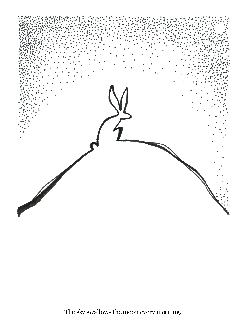 Hand drawn in black pen on white paper of a rabbit on top of a hill during the morning time
