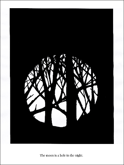 Hand drawn in black pen on white paper a black space with a white circle in the middle resembling the moon with shadows of trees and branches cast upon it