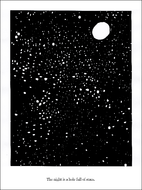 Hand drawn in black pen on white paper of a night sky full of stars and a full moon