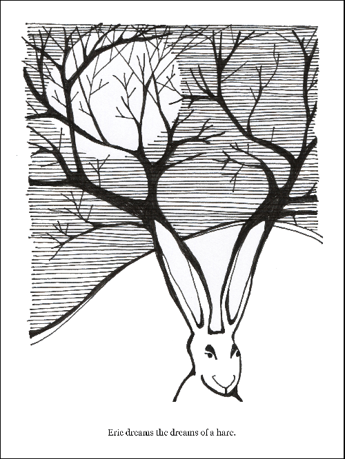 Eric Dreams the Dreams of a Hare B/W - E&E 13 Print