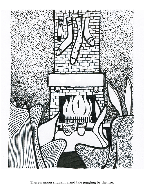 Hand drawn in black pen on white paper a fox and rabbit sitting in front of a lit fireplace where stockings are hanging while they sip out of coffee cups