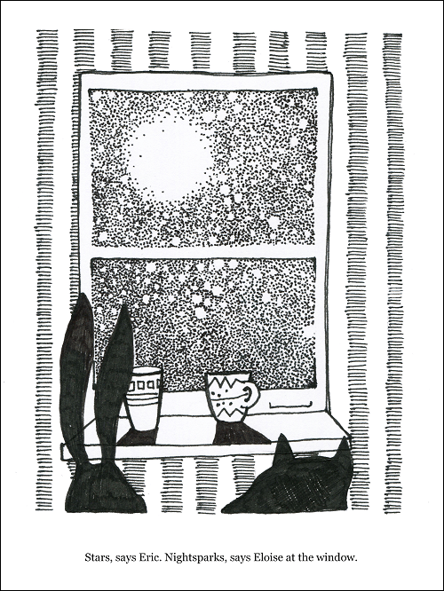 Hand drawn in black pen on white paper of a rabbit and a fox looking out a window at the moon while drinking from coffee cups