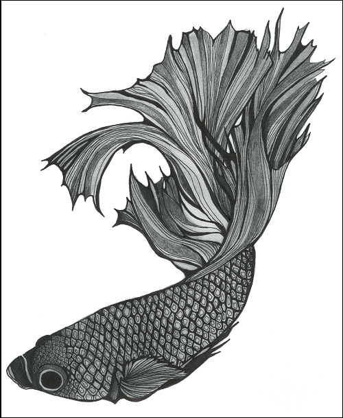 Elusive Dynasty Fish 1: Black & White Print