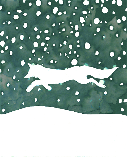 Painting in watercolor of a fox dashing through the snow