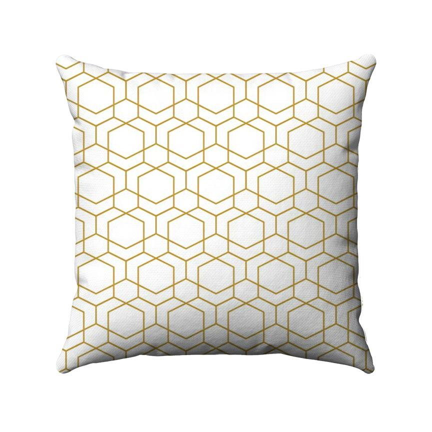 Gold line drawing of geometric cubes arranged in a honeycomb-like structure on a white background.