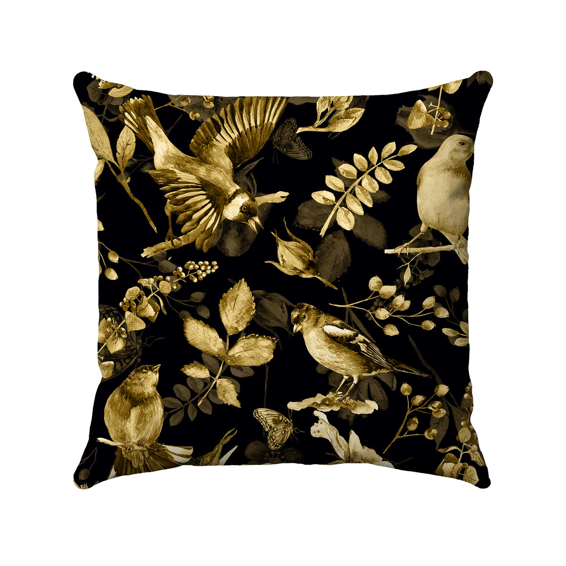 Gold sketches of birds, branches, flowers, and leaves scattered across a black background.