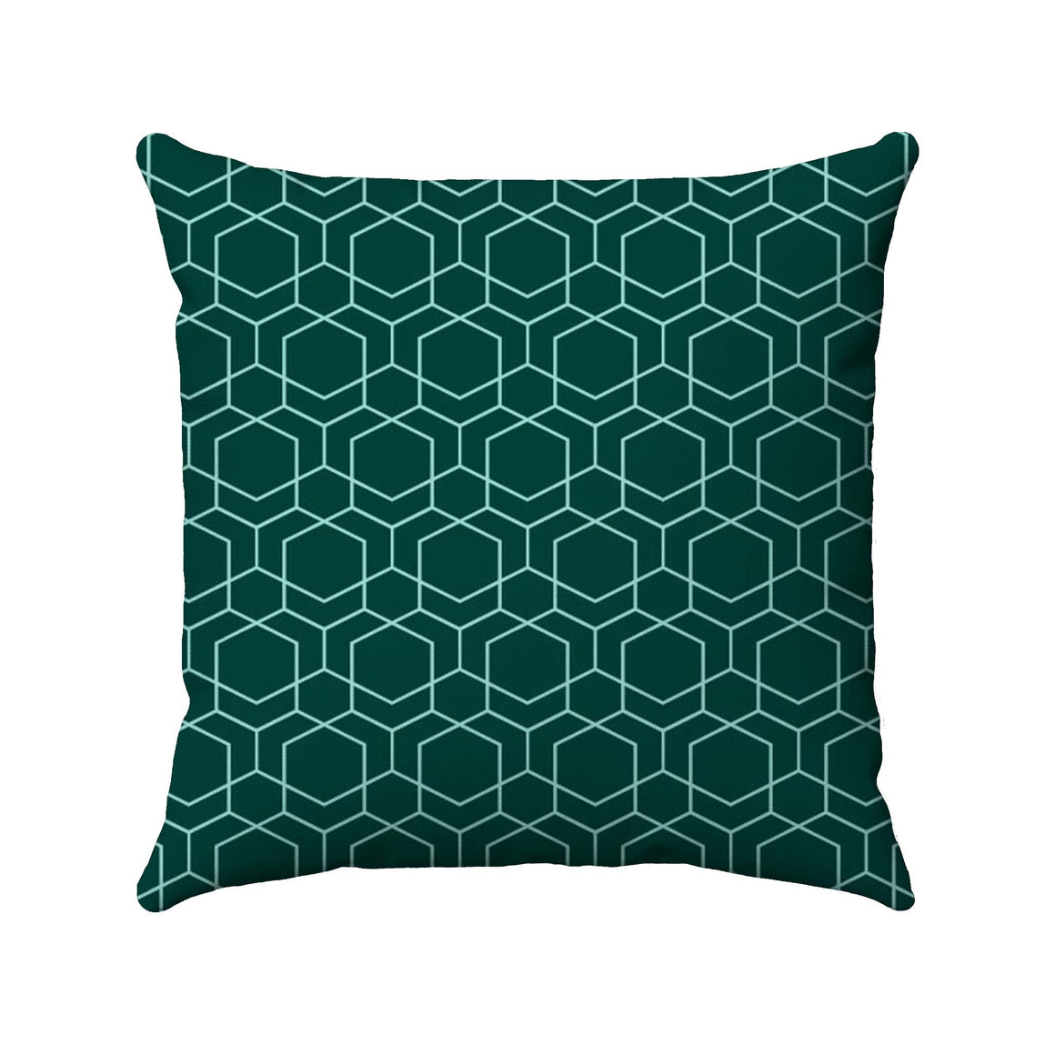 Sky blue line drawing of geometric cubes arranged in a honeycomb-like structure on a dark green background.