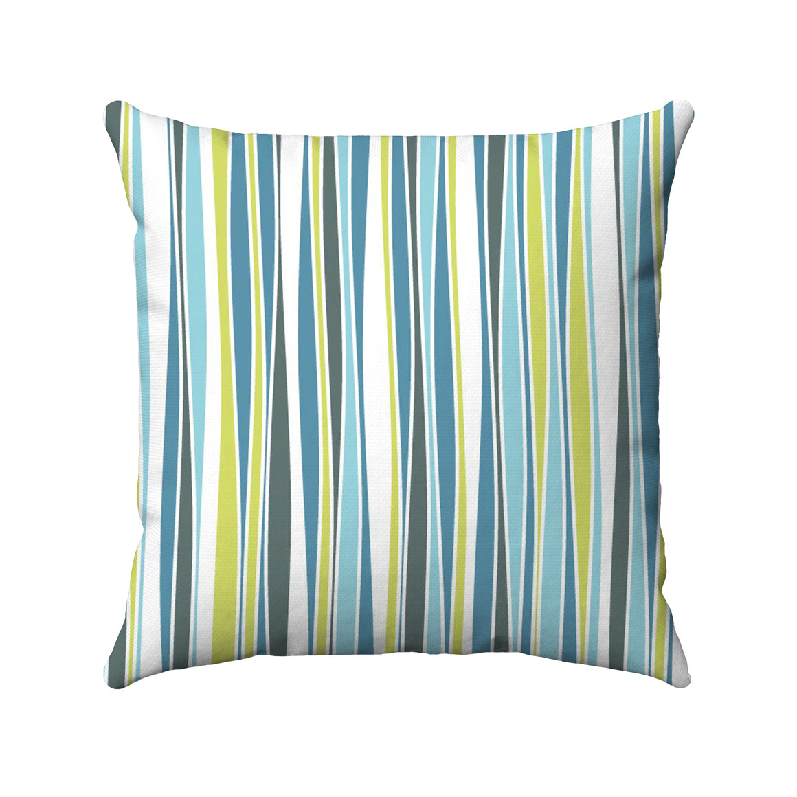 Green, aqua, blue, hunter colors randomly arranged in wavy vertical stripes with white borders.