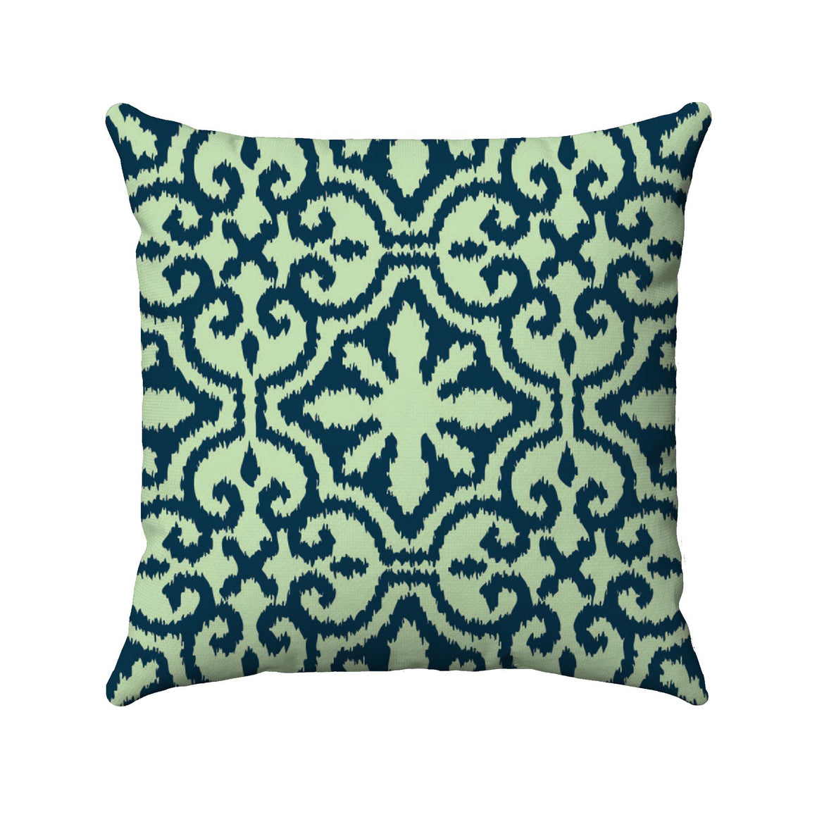 Blue damask ikat design on a light green background
