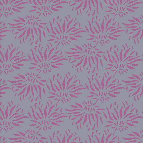 Pink spiky floral blooms, looking almost like sea urchins, tossed and scattered across a solid grey background