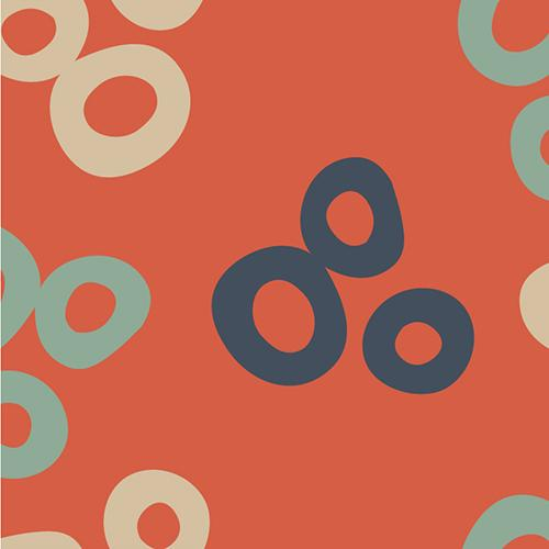 Aqua, tan, and navy bunches of 3 berries in the shape of rings scattered across a red-orange background