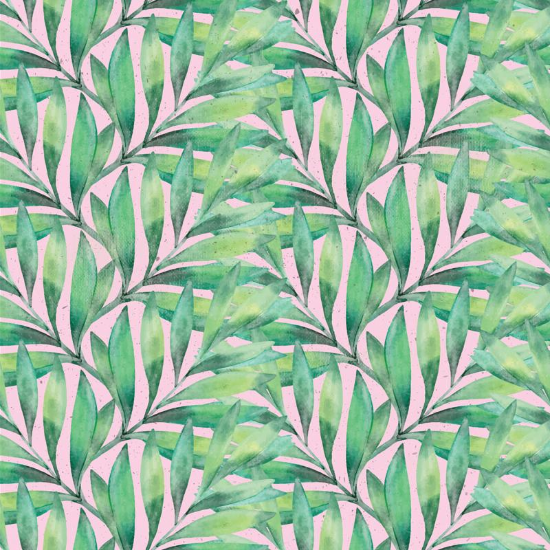 Textured soft looking green and yellow green palm or fern leaves arranged on a pink background