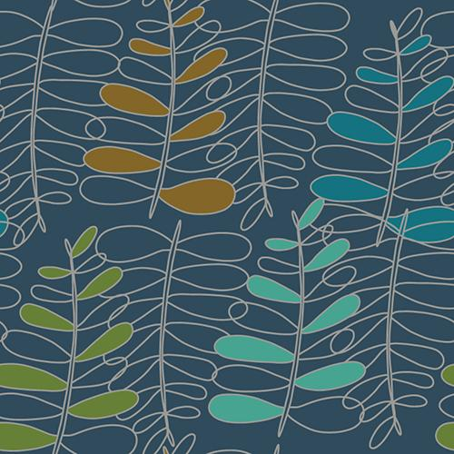 These ferns look more like a scribbled line drawing with a light grey pencil. Some random leaves are colored in using apple green, bright teal, mustard brown, swedish blue, all on a background of tourquoise.