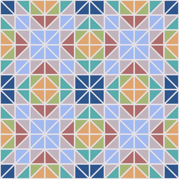 Morrocan color palette of blues, yellow, red, greens and tan triangles arranged to create a larger design