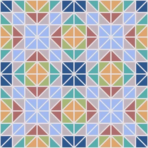 A mosic like design made of of small, right-angled triangles in shades of brown, blue, orange, and green with white lines in between the them.