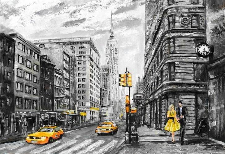 Thumbnail of a black and white painting of a street scene in New York City with pops of yellow on taxi cabs, traffic lights, signs, and a dress