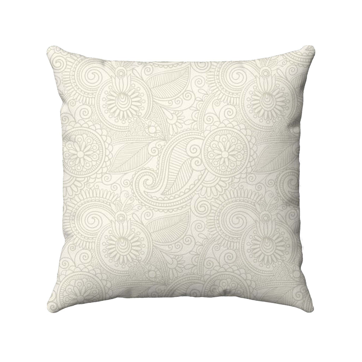 Paisley design with a neutral khaki color detailed on a bright cream background