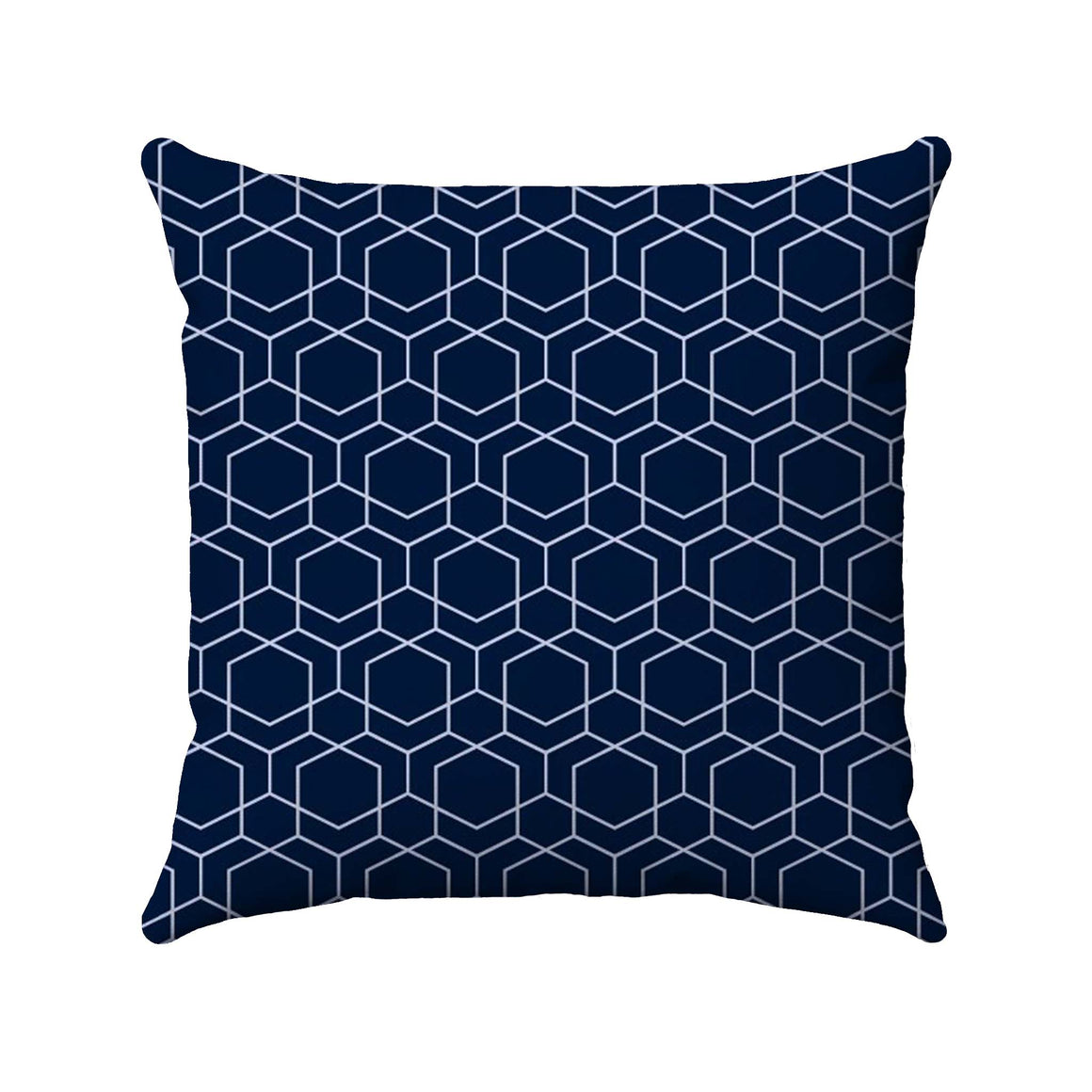 Light slate blue line drawing of geometric cubes arranged in a honeycomb-like structure on a dark navy background.