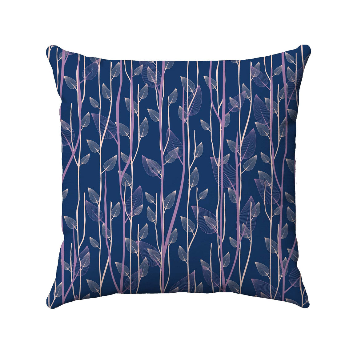 Purple and pink vertical vines with translucent leaves arranged randomly on a navy blue background