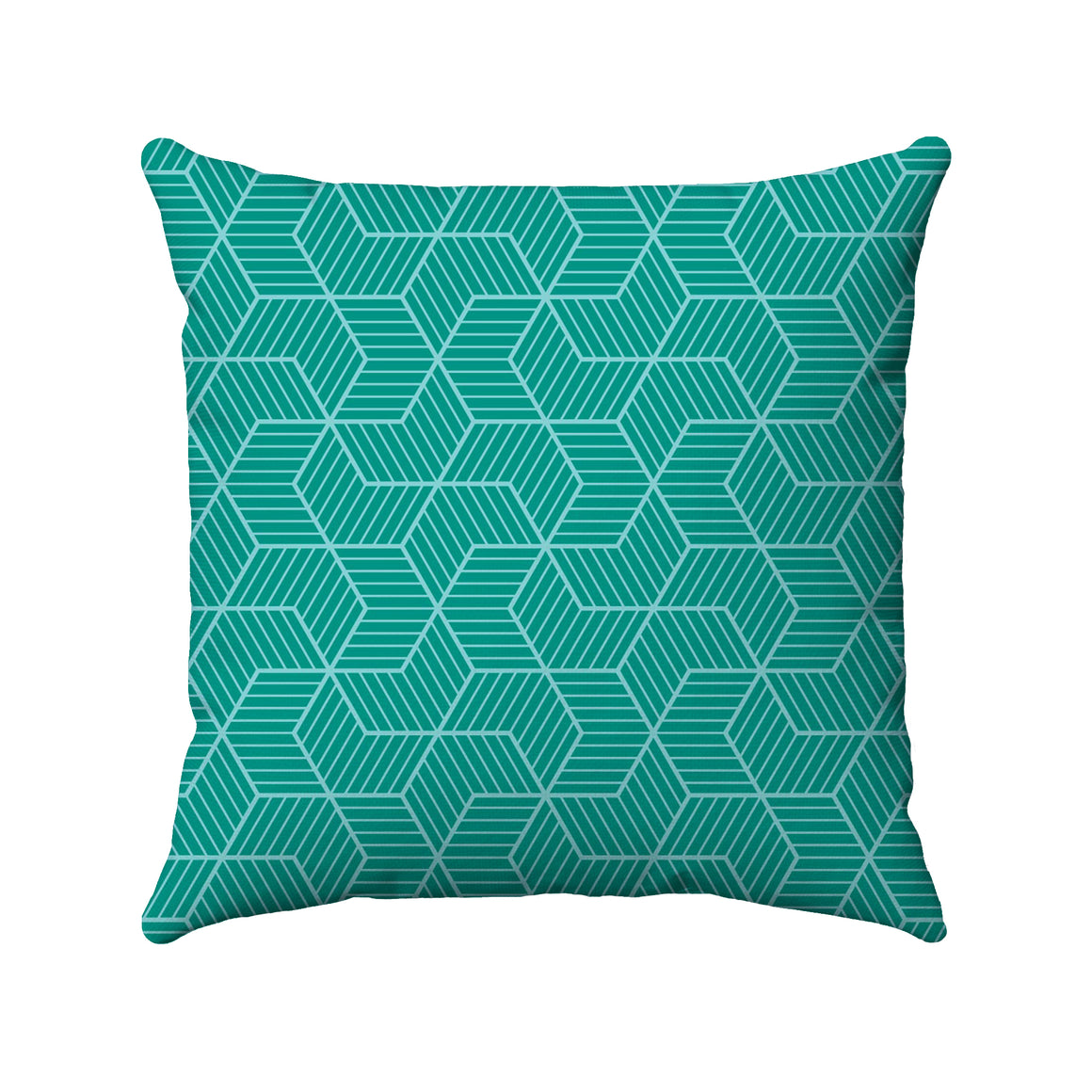 Two-color aqua and teal geometric line design arranged to look like several pinwheels intermingled.