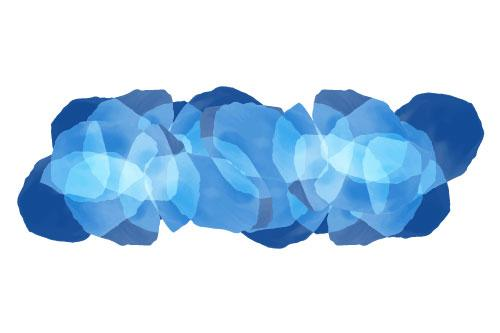 Overlapping shapes in shades of blue that create a linear cluster with an ombre effect on white background