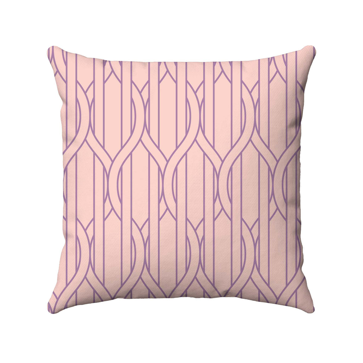 Pale pink and lavendar straight and ogee lines are used in this 2-color design to portray vertical stripes with wire-like lines wrapping in and around the stripes.