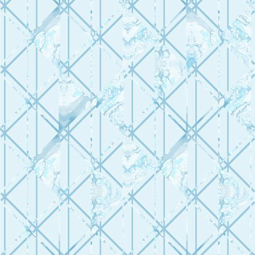 Linear diamond pattern with marbled triangles in teal