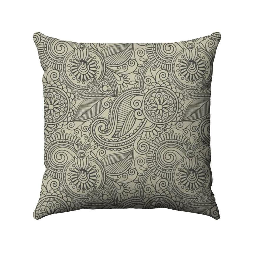 Paisley design with an earthy beige color detailed on a dark brown background