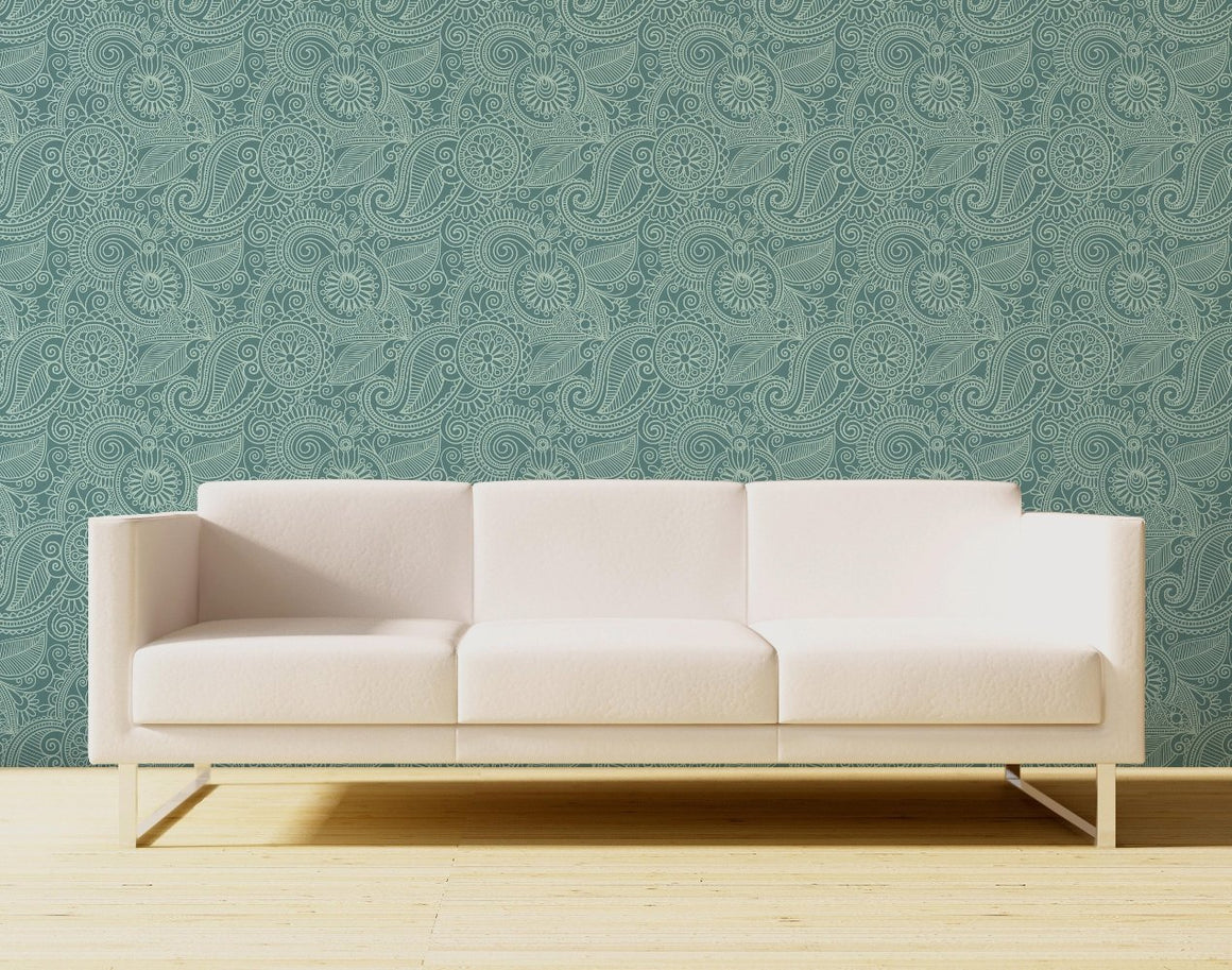 Loopy, floral paisley pattern on a beige background.