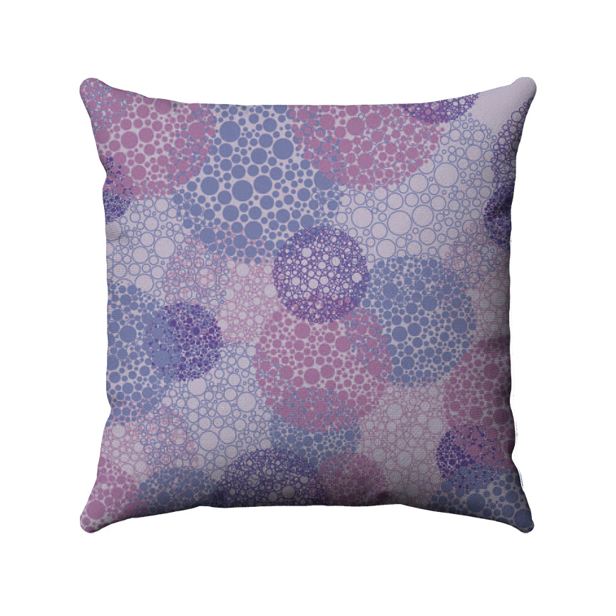 Haze color palette from Pantone's Ultra Violet collection. Dots and rings of different shades of purple and violet overlapping and grouped together to create larger circle bubbles across a light purple background