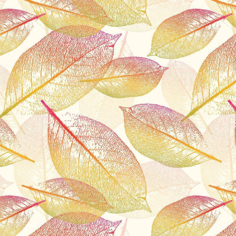 Detailed multi-color line drawing of leaves falling and floating across a creamy yellow background