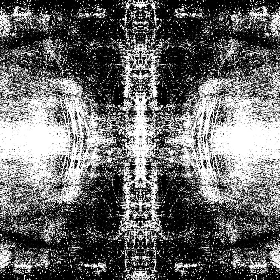 Black and white mirrored image of a scratching like texture design.