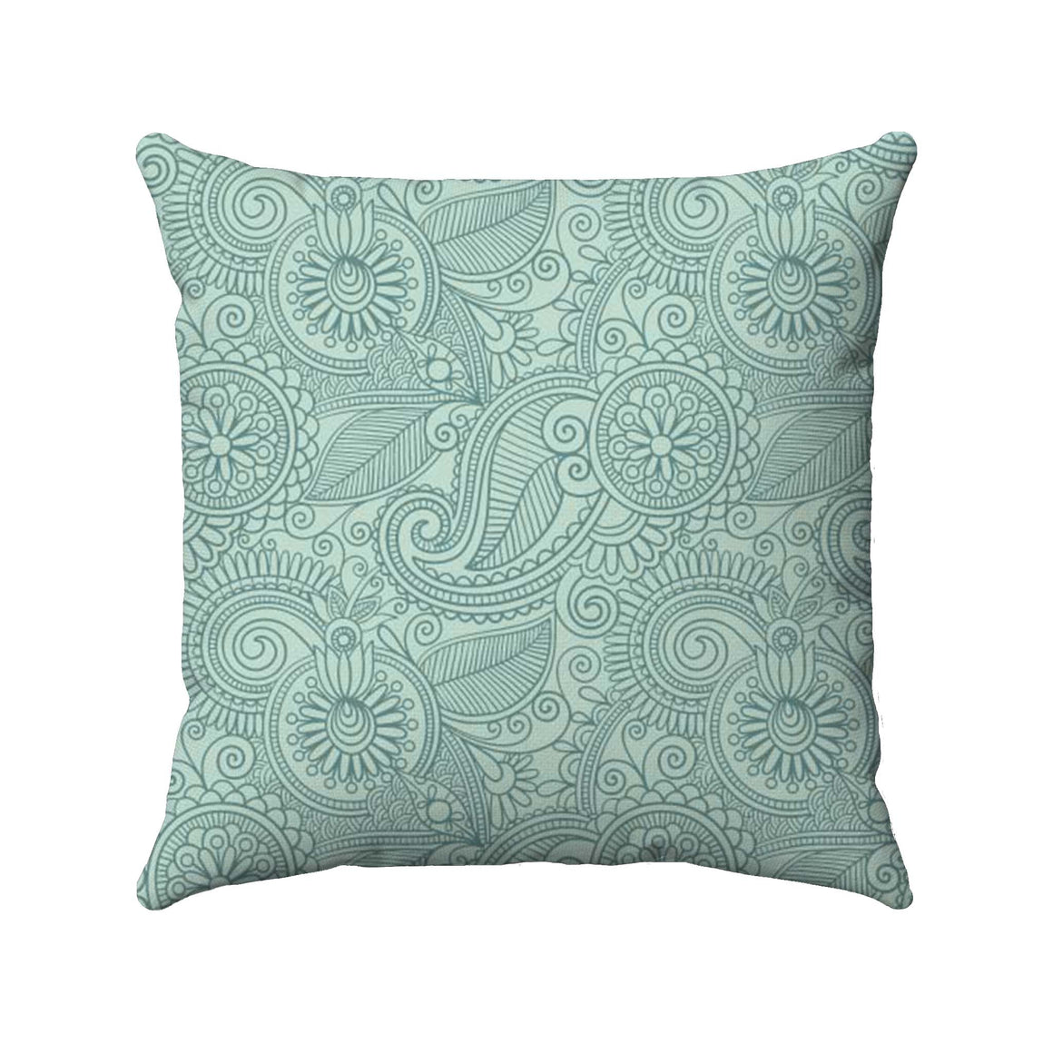 Paisley design with a dark teal color detailed on a bright sea foam background