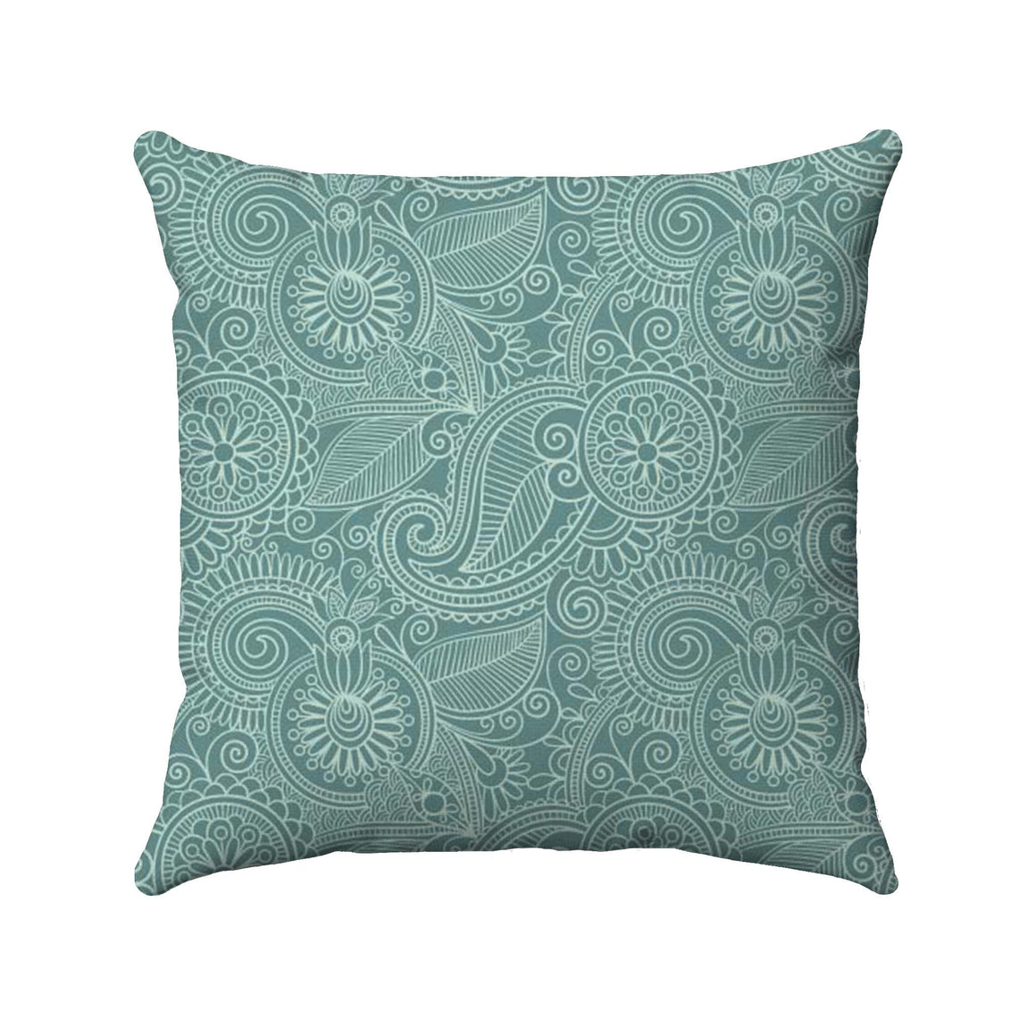 Paisley design with a sea foam color detailed on a teal background