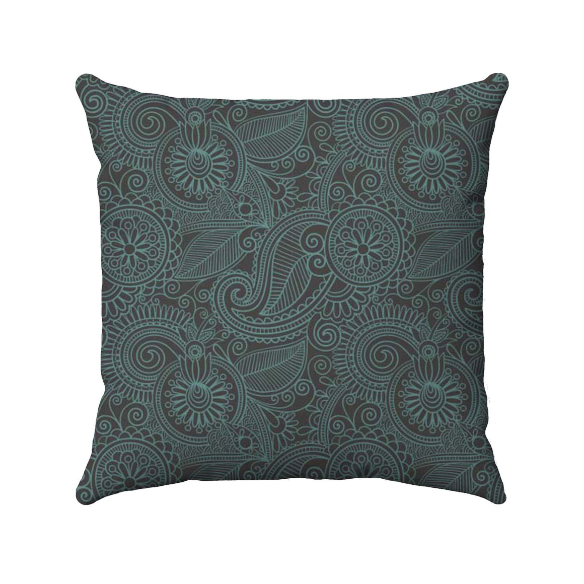 Paisley design with a stormy teal color detailed on a dark brown background
