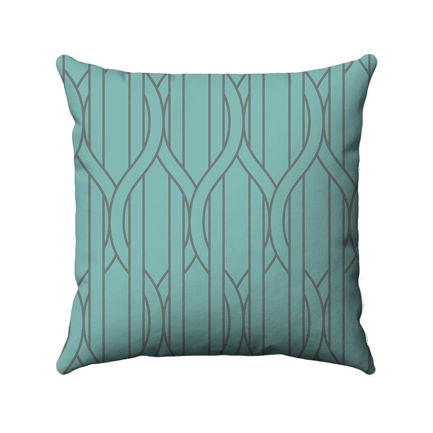 Green and grey straight and ogee lines are used in this 2-color design to portray vertical stripes with wire-like lines wrapping in and around the stripes.