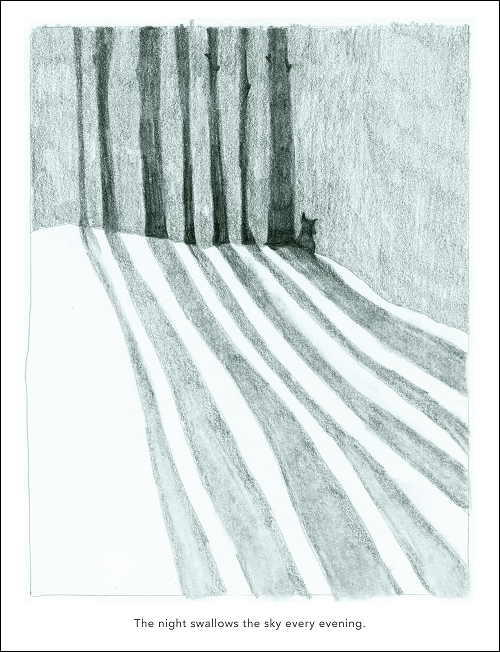 Hand drawn picture in pencil of trees and a fox standing in the distance casting shadows on the snow during the evening time