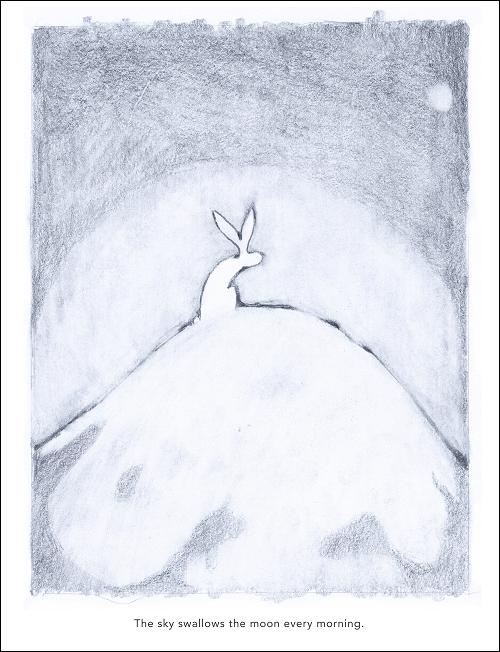 Hand drawn picture in pencil of a rabbit on top of a hill looking at the sun rise in the morning