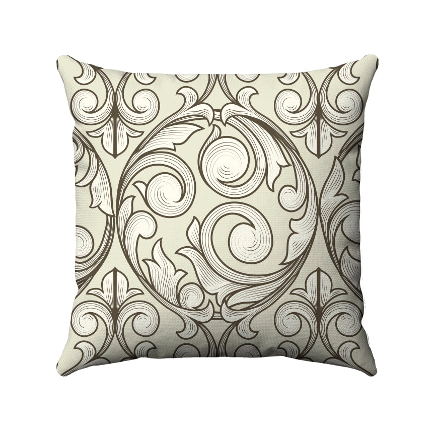 Vintage looking vines swirling around together and arranged in a damask style.