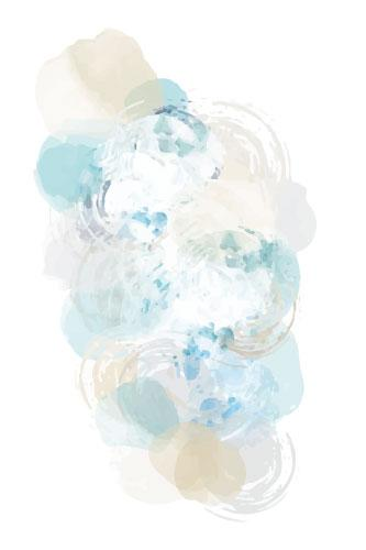 Painted dots that overlap and ripple in tan, beige, teal and blue