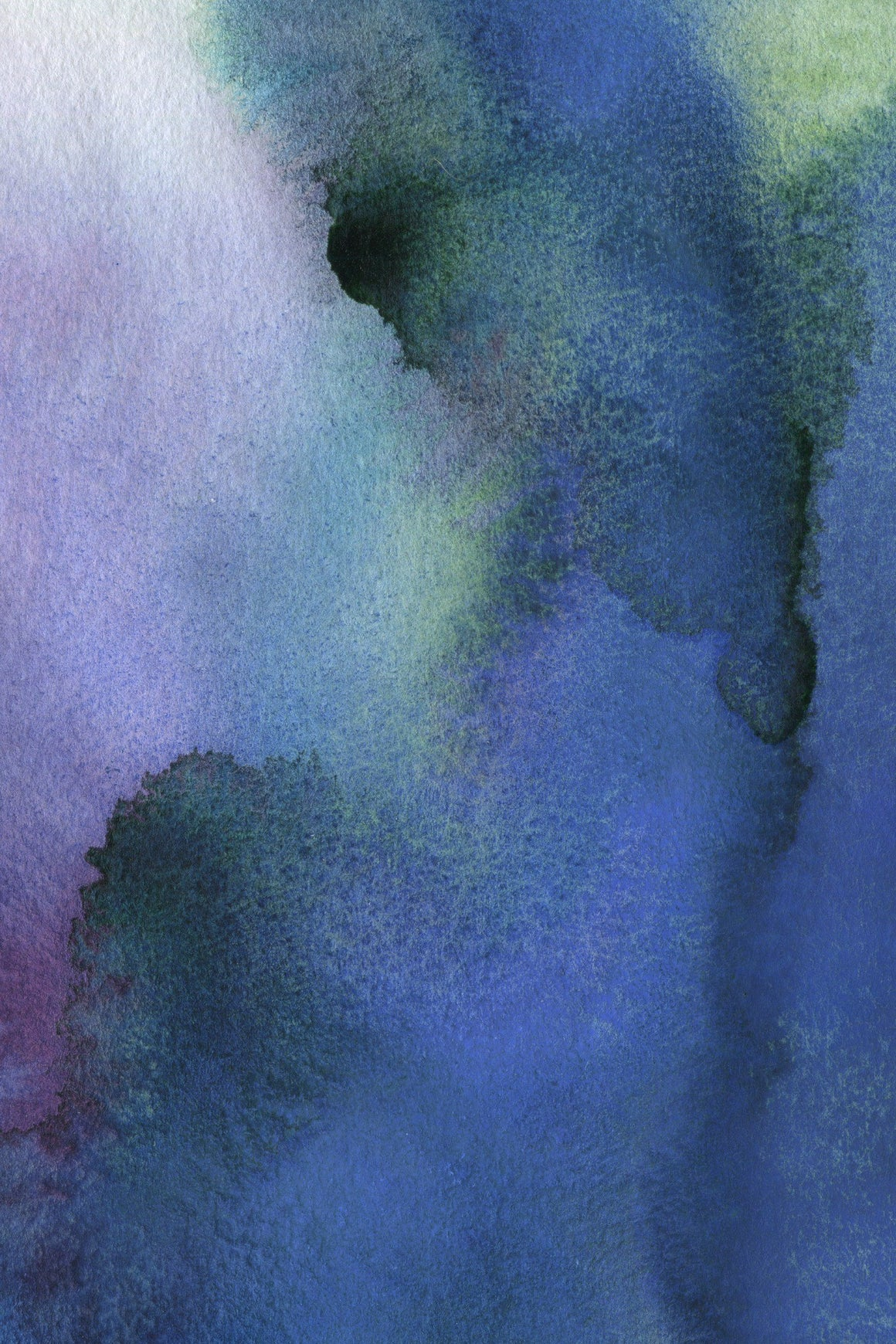 Watercolor painting in dark blue, purple, and green ink where the ink collides with one another to create an ombre effect
