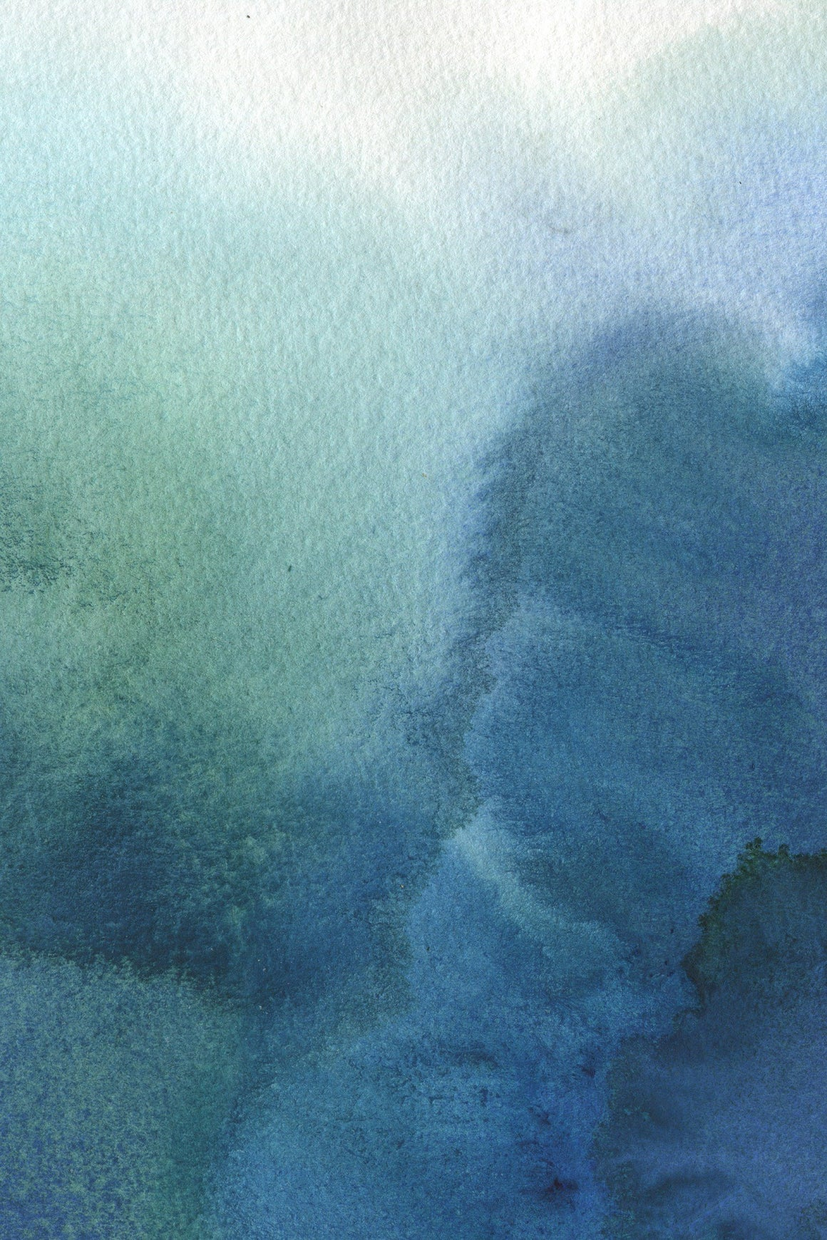 Watercolor artwork in shades of blue and teal of blotches of ink that collide and are ombre in color