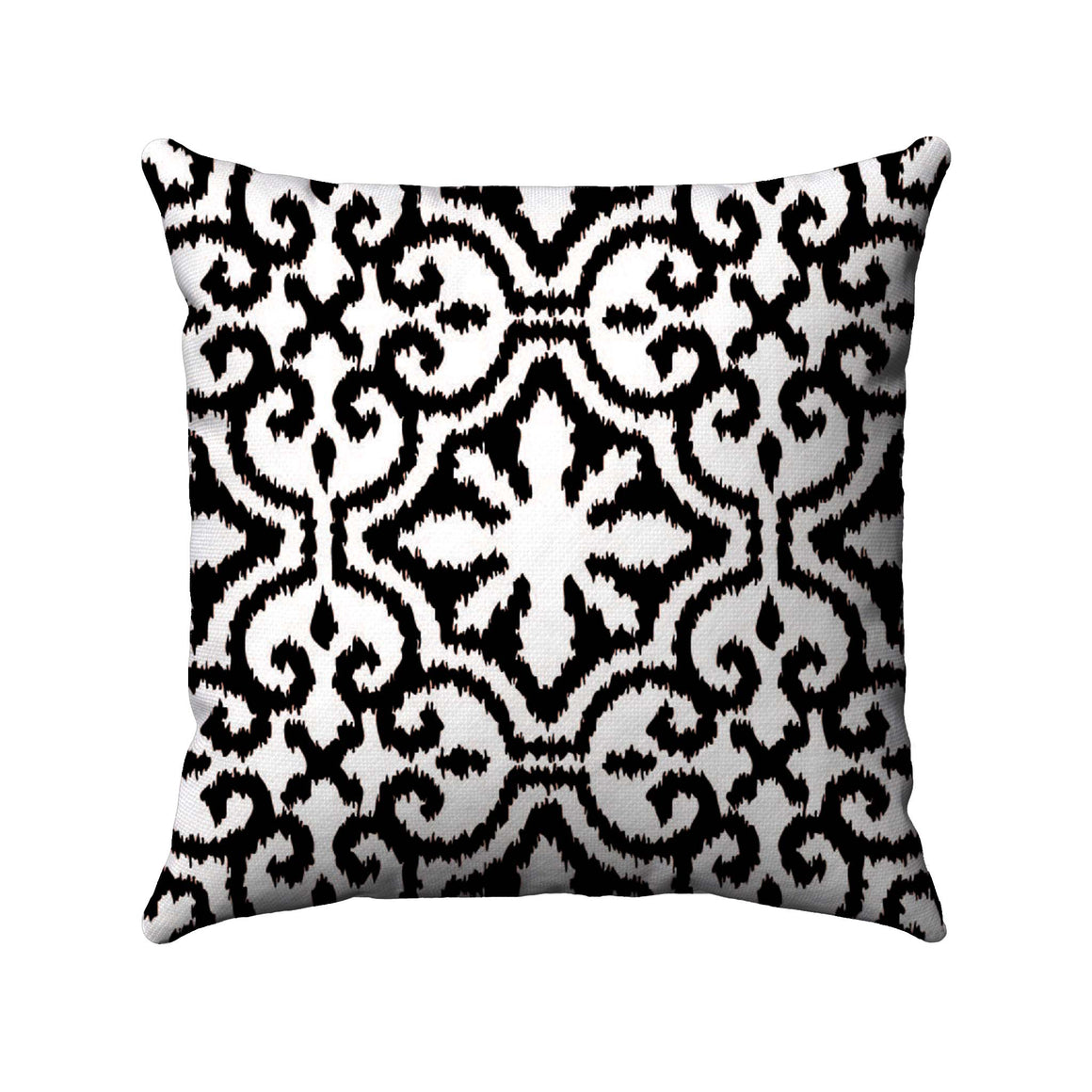 Black damask ikat design on a white background